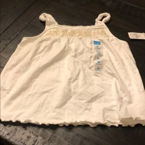 New with Tags- Girls White Tank with sequins